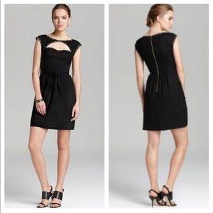 Rebecca Taylor Black Cut Out Shift Dress Studs